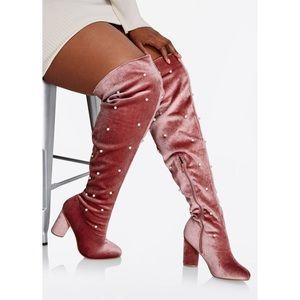YOKI Heri Pink Velvet Pearl Applique OTK boots NEW